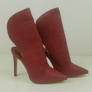 Liliana Selina burgundy snake boot heel